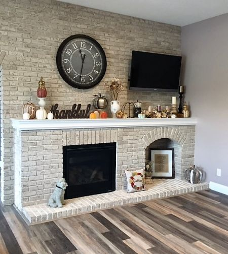 Classic Brick Fireplace with Entertainment Center